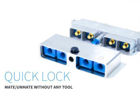 Quick lock fixing for EN4165 connector